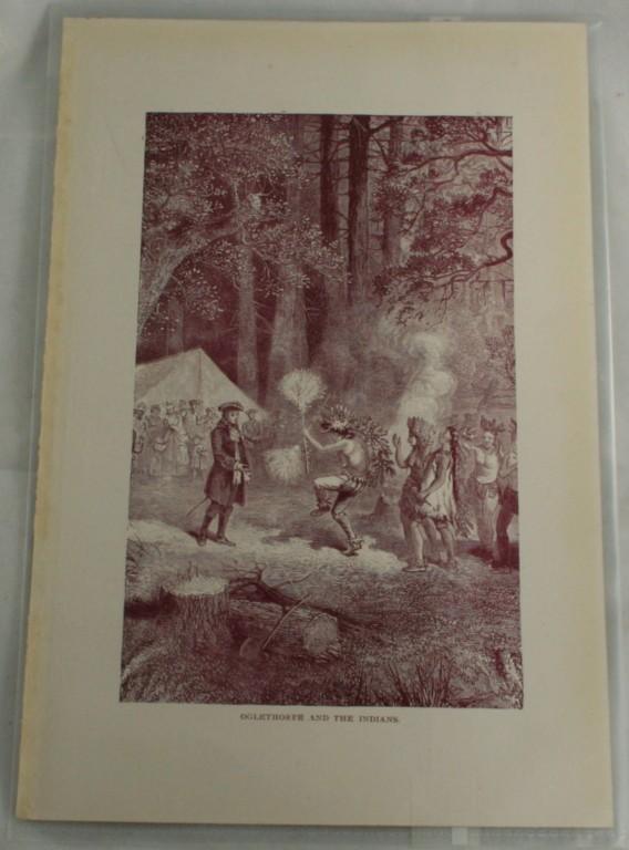 antique woodblock, print, Oglethorpe and the Indians,vintage,woodblock print
