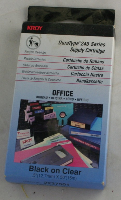 office supply, kroy, tape,black on clear, series 240,labeling,labeling tape