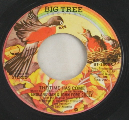 vintage record,45,vinyl,England Dan,John Ford Coley,The Time Has Come, Big Tree Records