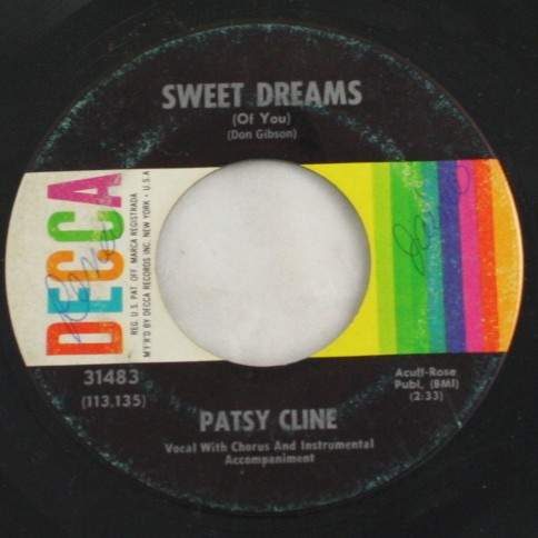 vintage record,45,vinyl,Patsy Cline,Sweet Dreams,Decca Records