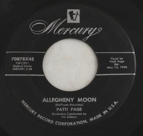 vintage record,45,vinyl,Patti Page,Allegheny Moon, Mercury Records