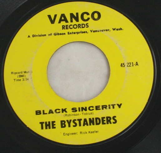 vintage record,45,vinyl,The Bystanders,Diane,Black Sincerity, Vanco Records