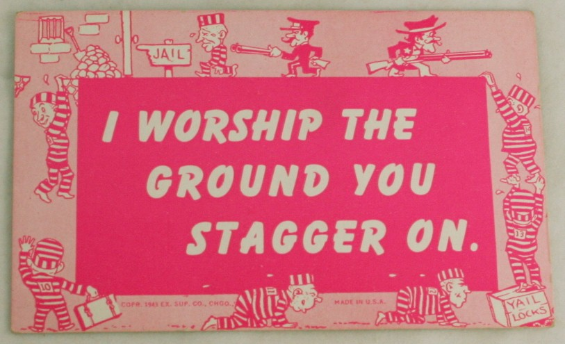vintage postcard,mutograph,WWII,comic,humour,blank back