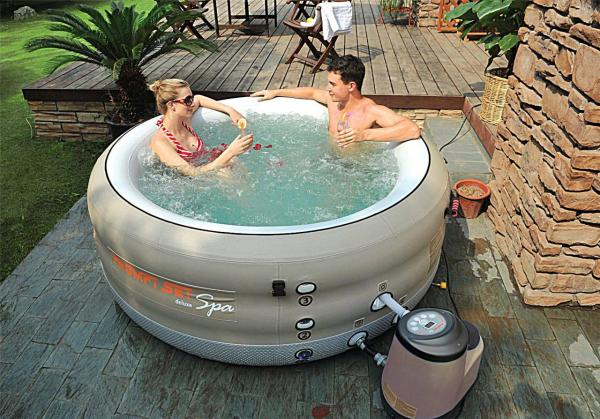 Prompt Deluxe Set Spa - 4 Person Portable Inflatable Hot Tub 88 Jets