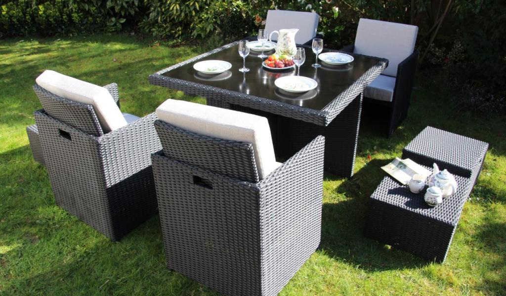 Rattan Outdoor Garden Furniture 9 Piece Cube Set Home Garden
