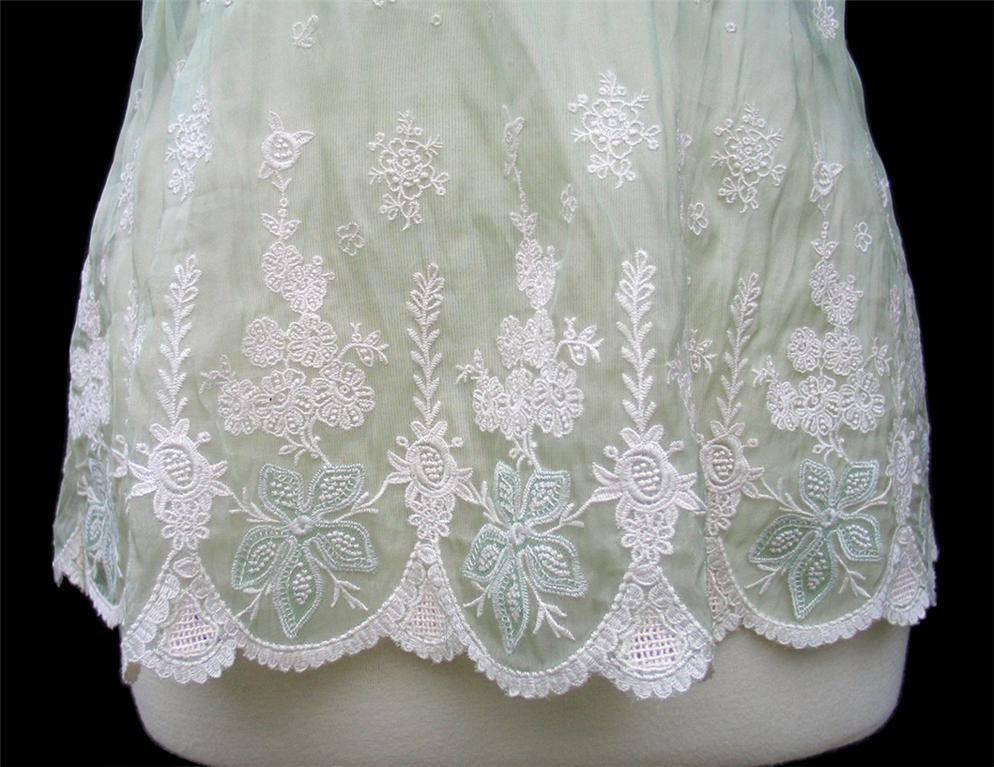 ELIE TAHARI Pale Green Embroidered Silk Organza DAISY
