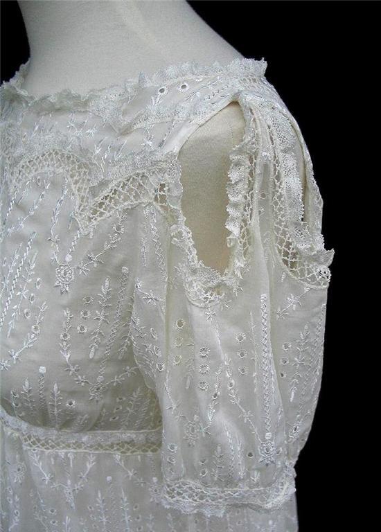 BCBG Max Azria Cream Eyelet Silk Amp Cotton Voile Blouse NWT LARGE EBay