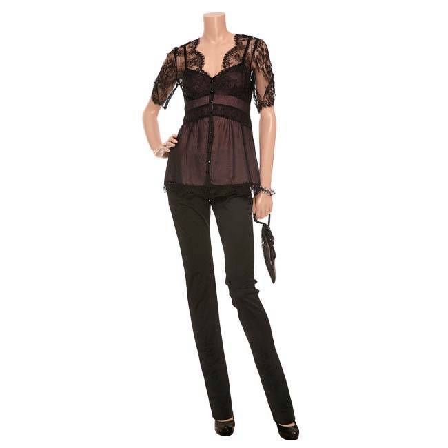 NANETTE LEPORE Lapore SOLD OUT Amp RARE LINGERIE LACE Blouse Top NEW 8 12 40 EBay