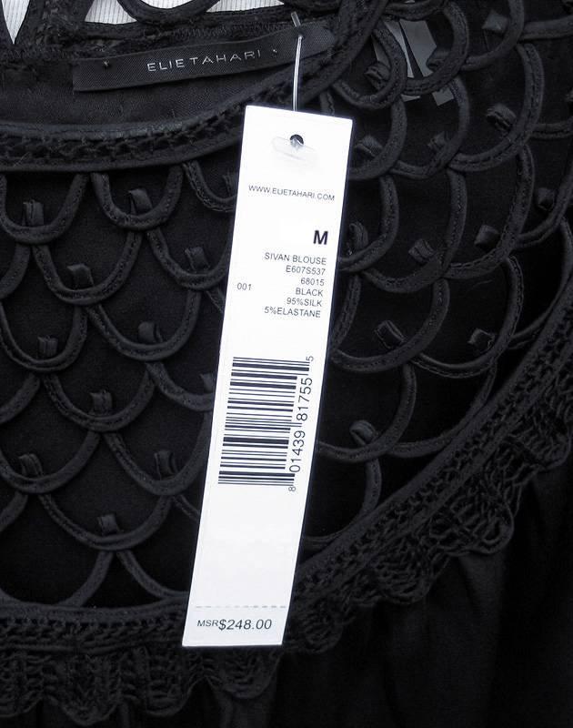 ELIE TAHARI Black Silk Loop Detail SIVAN Blouse Top