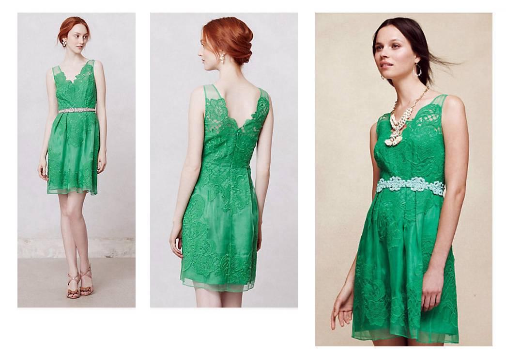 YOANA BARASCHI Green CLOVERLACE Silk Organza Dress