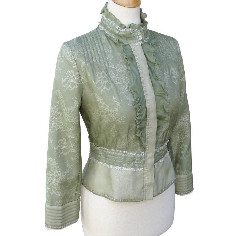 ELIE TAHARI Lichen Green Lace Silk Organza Peplum SANTINA Jacket 49800 EBay