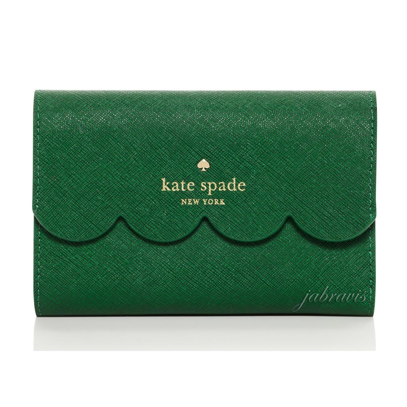Kate Spade Green Lily Avenue Saffiano Leather Scalloped