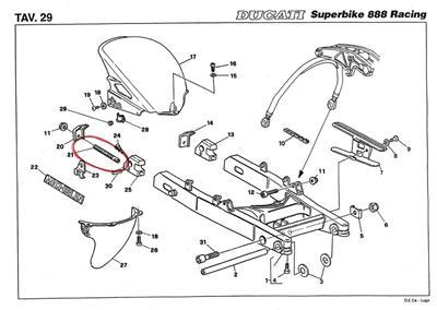 1991-1994 Ducati 851 888 Racing rear chain adjuster inside