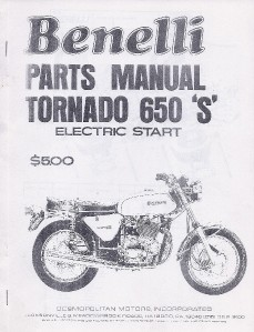 1970 Benelli 650 Tornado S parts manual photocopy by Cosmo