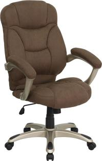 BROWN MICROFIBER FABRIC COMPUTER OFFICE DESK CHAIR