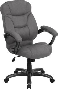 GREY MICROFIBER FABRIC COMPUTER OFFICE DESK CHAIR