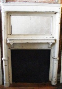 Antique Wooden WHITE Distressed Painted Fireplace Old ...