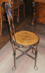 Old Antique 3 Pc Ice Cream Parlor Table  2 Chair Set Wood