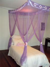 Purple Flower Princess Mosquito Net 4 Poster Bed Canopy ...