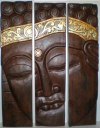 Bali 3 Pce Buddha Face Wood Carving Wall Art Hanging Panel ...