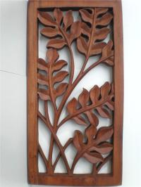 Bali Leaf Wood Carved Wall ART Hanging Relief Carving ...
