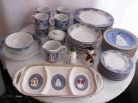 Sakura Debbie Mumm SNOWMAN 47 pc Stoneware Dinnerware Set ...
