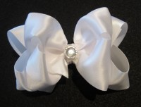 wedding hair bows white satin double layered fancy hair ...
