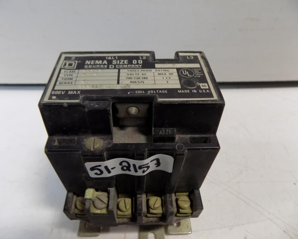 medium resolution of square d size 00 3 phase contactor 8536 ag2