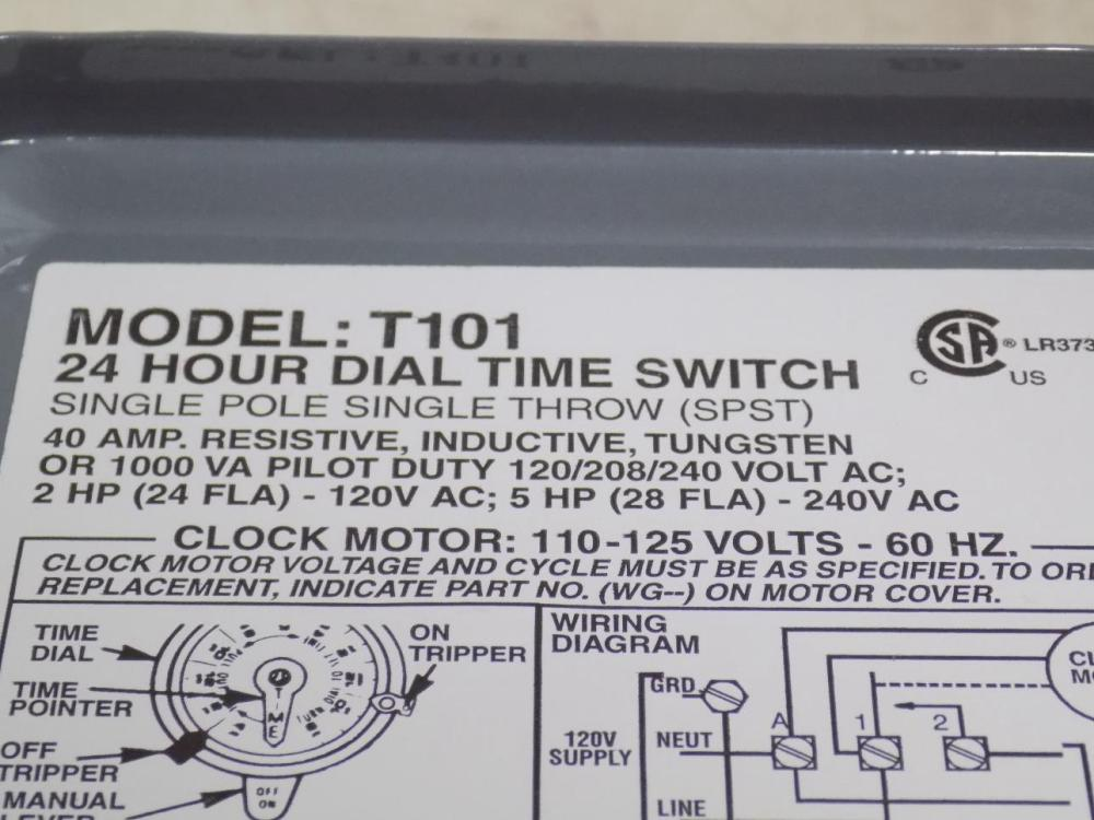 medium resolution of intermatic 40a spst 24 hour dial time switch model t101 nnb
