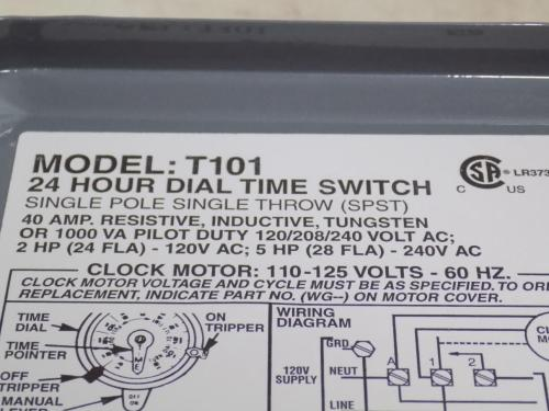 small resolution of intermatic 40a spst 24 hour dial time switch model t101 nnb