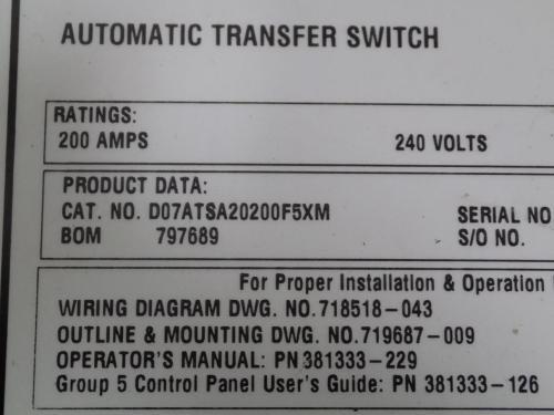 small resolution of asco 7000 ser 200a 240v 1ph 50 60hz automatic transfer switch d07atsa20200f5xm