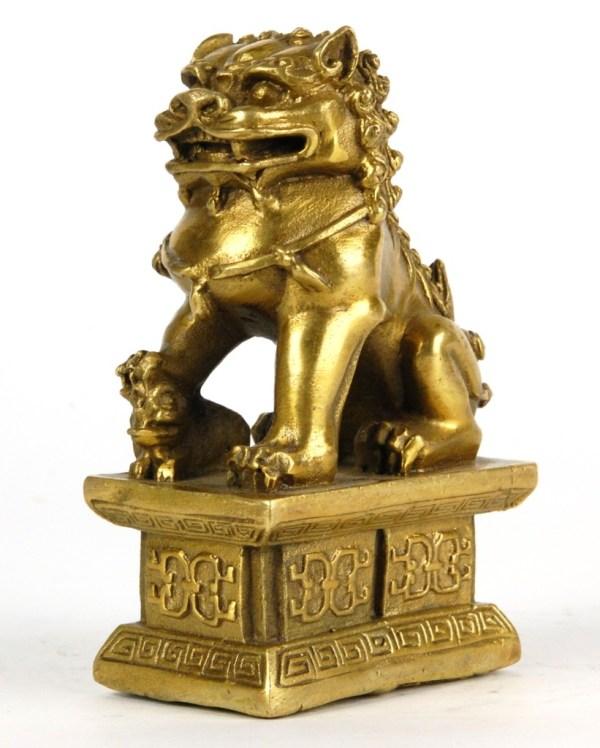 Bronze Foo Dog Pair Statue Fu Lion Set Chinese Asian 4