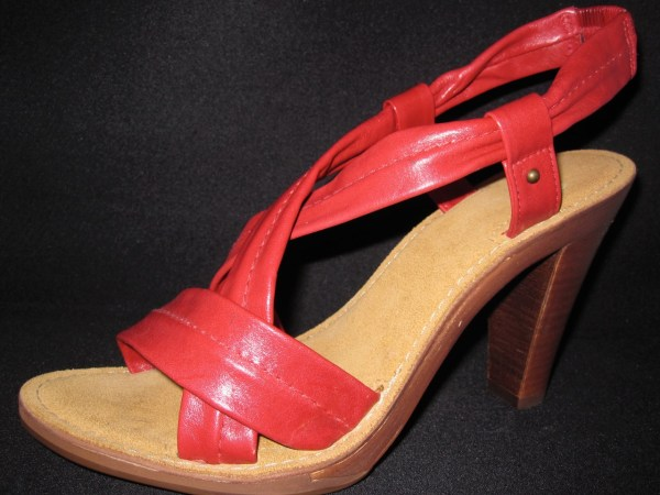 Red Nicole Leather Simple Chic Platform Sandals 3 4