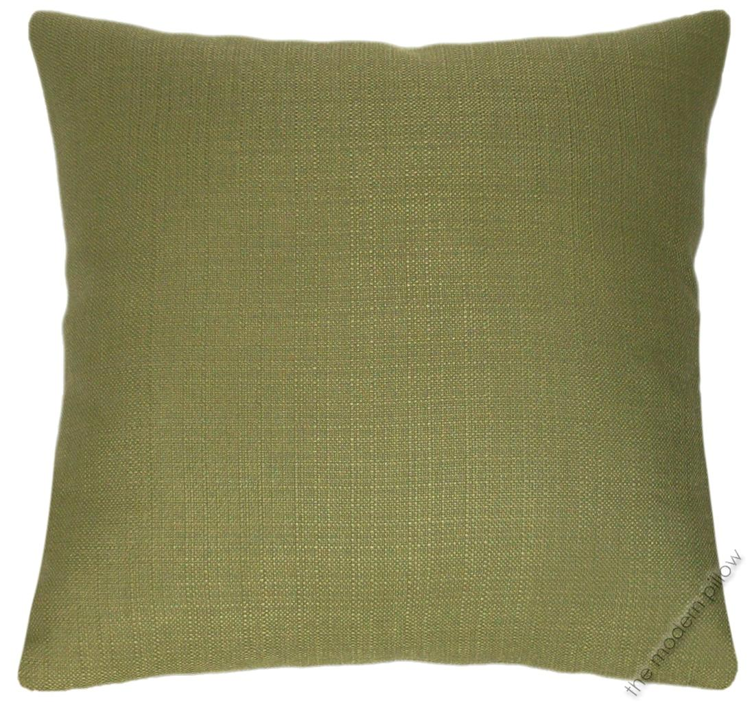 Olive Green Solid Metro Linen Decorative Throw Pillow