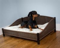 Wicker Dog Bed with Easy Clean Pet Cushion Soft Pillow | eBay