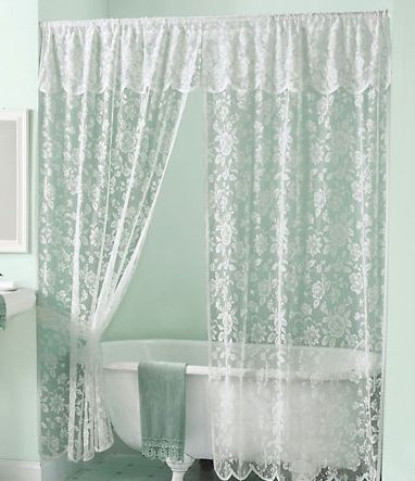 New Elegant Victorian White Lace Shower Curtain wAttached Valance  White Liner  eBay