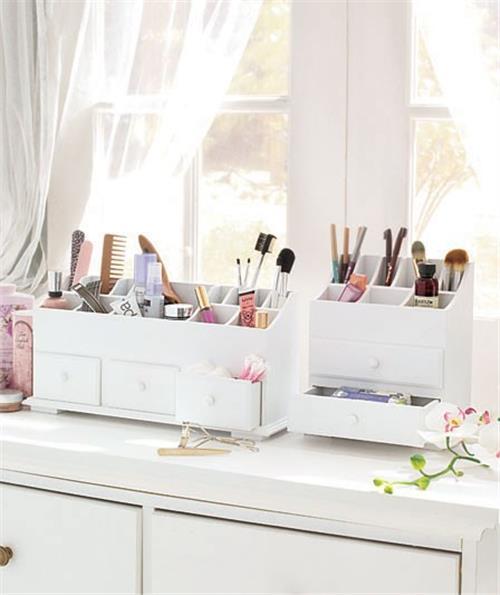 NEW Wooden Vanity Beauty Cosmetic Storage Organizer Caddy