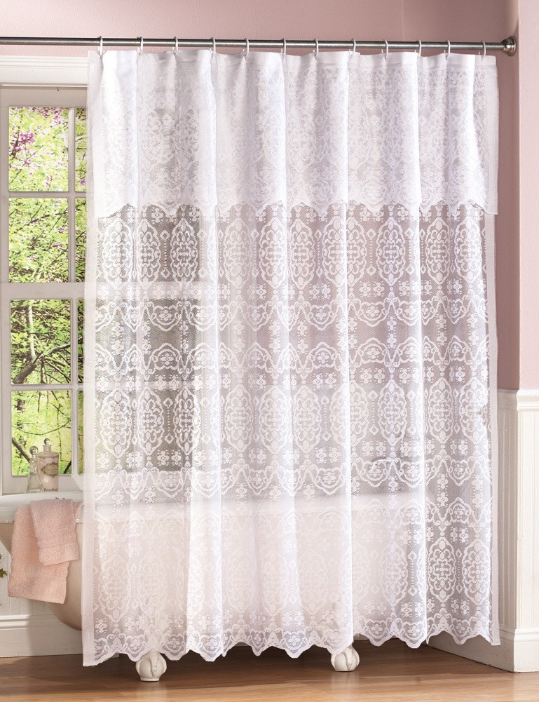 New Elegant Victorian White Lace Shower Curtain wAttached