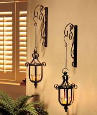 NEW Scrollwork Wall Mounted Hanging Candle Lanterns Wall ...