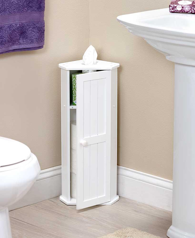 WHITE Bathroom Corner Cabinet Toilet Paper Roll Kleenex