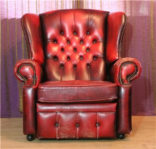 oxblood leather wing chair patio and ottoman set red chesterfield back recliner,queen anne | ebay