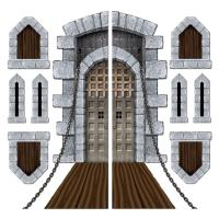 Pack of 9 Medieval Halloween Castle Door Windows Cutouts ...