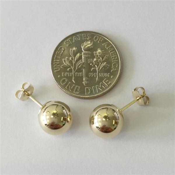 14k Solid Yellow Gold High Polish Ball Stud Earrings Sizes 3mm - 8mm Free Box