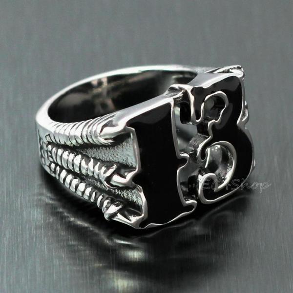 Men Lucky . 13 Dragon Claw Biker Ring Enamel Stainless