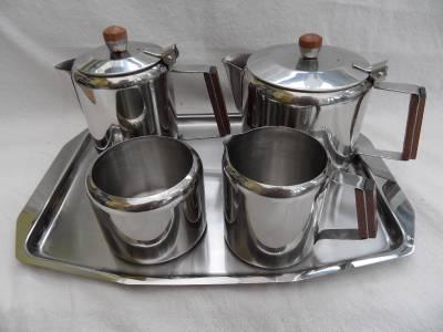 Vintage stainless steel tea set wood handles boxed