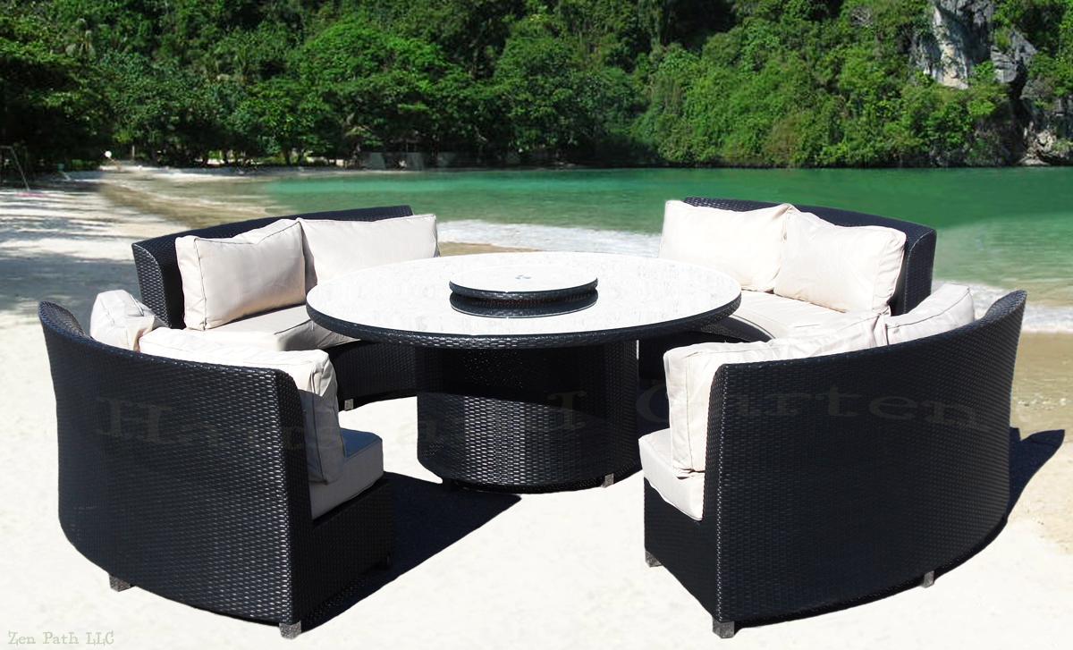 round outdoor wicker patio furniture set ELEGANT OUTDOOR WICKER SOFA ROUND DINING SET PATIO