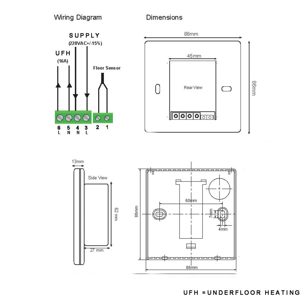 contactor wiring diagram underfloor heating basic fire hydrant thermostat with floor probe ebay