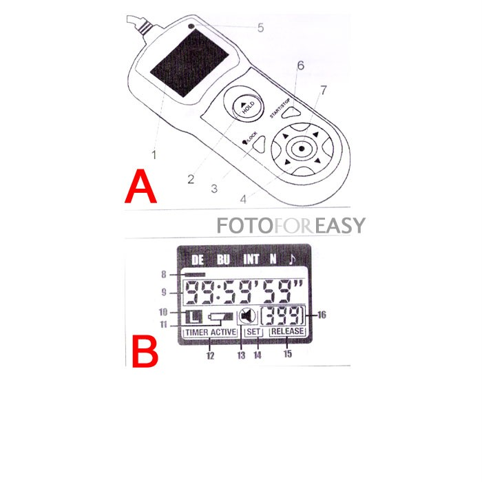 Timer Remote Control for Canon EOS Rebel XT XTi XSi T1i