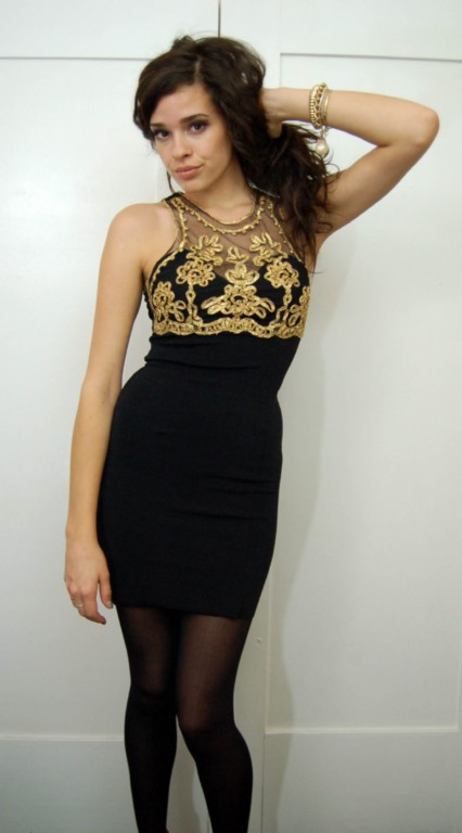 Vintage black and gold mesh bandage mini dress