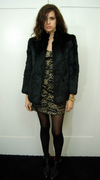 Vintage 60s Lush BLK RABBIT FUT Dress Short Coat Jacket S M